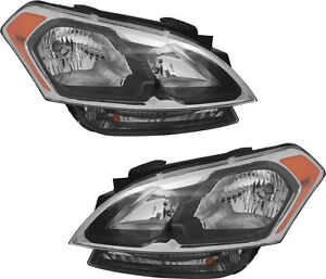 Halogen Headlight Assembly W Bulb Auto On Off Pair Set New For 12 13 Kia Soul