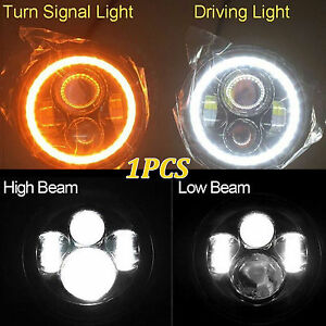 Led Projector Headlight 7 60w Halo Drl Angel Eyes Fit For Jeep Wrangler Jk Tj 1