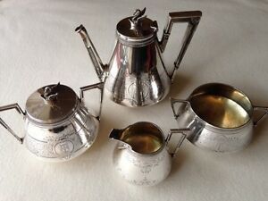 Monogram Tea Set Khlebnikov Genuine Russian Imperial Silver 84 Antiques Russia