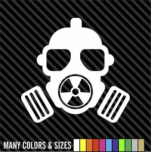Nuclear Gas Mask Sticker Decal 4 Laptop Car Window Many Colors Sizes