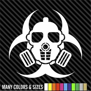 Zombie Outbreak Skull Gas Mask Bio Hazard Sticker Decal 4 Laptop Car Window