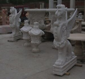 Great Pair Of Winged Griffin Hand Carved Marble Statues