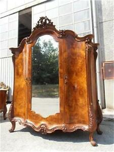 The Best Italian Burled Walnut Carved Antique Bedroom Set Armoire 12it042a