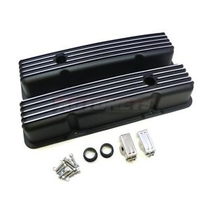 Sbc Small Block Chevy Nostalgic Finned Black Aluminum Tall Valve Cover Retro 350