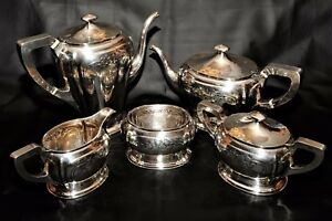 Art Nouveau 1911 1919 Hand Wrought Sterling Silver Tea Coffee Set Service Rare