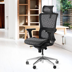High Back Mesh Ergonomic Office Chair With Adjustable Headrest Armrest