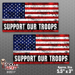 Support Our Troops Usa Grunge Flag 2 Pack Stickers Vinyl Decal Bumper Fs2052
