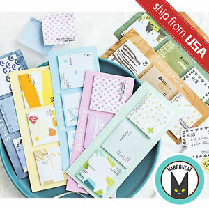 Lot 8 Novelty Cute Kawaii Office Supply Square Memo Pad Stationery Sticky Notes