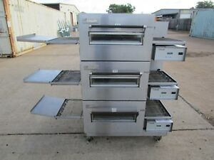 Lincoln Impinger 1116 Gas Triple Stack Conveyor Pizza Oven On Casters