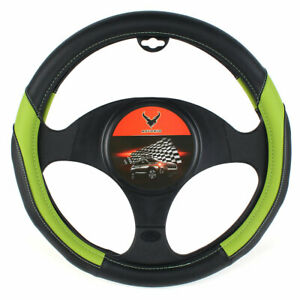15 Car Steering Wheel Cover Pu Leather Vehicle Protection Green Universal Fit