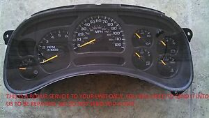 03 06 Chevy Avalanche Instrument Gauge Cluster Speedometer Repair Kit Install
