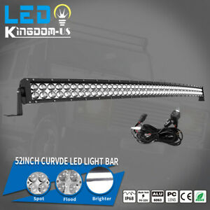 700w 52inch Led Light Bar Curved Flood Spot Combo Truck Roof Driving 4x4 Offroad