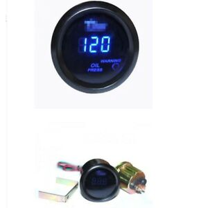 2 52mm Black Car Truck Digital Blue Led Oil Press Pressure Led Gauge Kit Fo