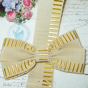 1y Vtg French Ivory Off White Yellow Grosgrain Ribbon Trim French Antique Hat