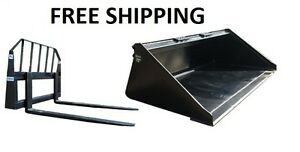 72 Smooth Bucket And 48 Pallet Forks Combo Skid Steer Free Shipping