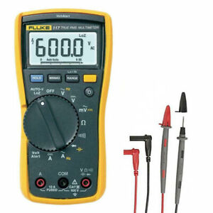 Fluke 117 True Rms Digital Multimeter W C115 Carry Case Test Leads