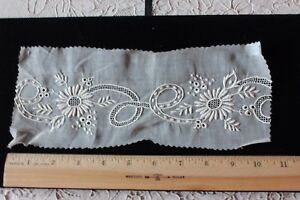 Antique 19thc French Swiss Hand Embroidered Lace Florals On Linen Sample C1880