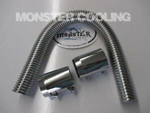 1967 1972 C10 Truck Sbc Radiator Hose Kit 24 Chrome With 2 Couplings Fits 36