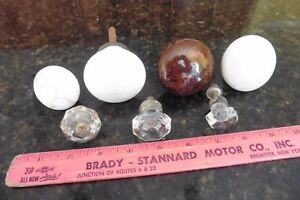 Lot Of 7 Knobs Door Pull Handles White Brown Porcelain Crystal Vintage Salvage