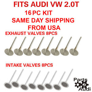 Engine Intake Valves Exhaust Valves 16pc Kit Fits Audi Vw 2 0t fsi Tsi