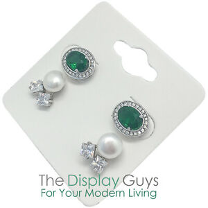 100pc 2x2 Inch White Paper Earrings Display Hanging Cards For Accessory Jewelry