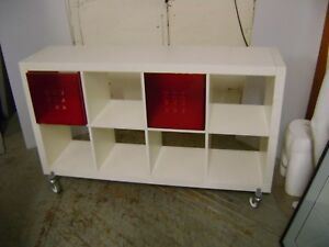 White Retail Cube Shelving Unit Display Table Rack W Wheels