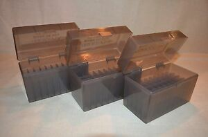 (3) 30-06  270 BERRY AMMO BOXES 50 RNDS OF STORAGE (SMOKE COLOR)