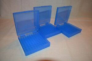 (3) 9 MM  380 AMMO BOXES  STORAGE (BLUE COLOR) BERRY MFG