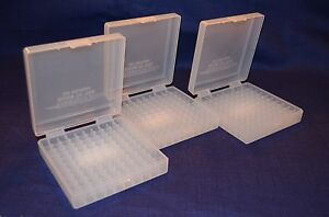 (3) 9 MM  380 AMMO BOXES  STORAGE (CLEAR COLOR) BERRY MFG