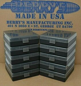 (10) 9 MM  380 AMMO BOXES  STORAGE (SMOKE COLOR) BERRY MFG