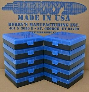 (10) 9 MM  380 AMMO BOXES  STORAGE 100 (BLUE COLOR) BERRY MFG