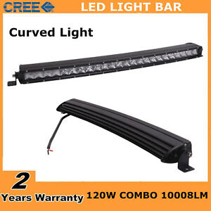 Slim 25 120w Single Row Cree Curved Led Light Bar Combo Off Road Truck Ute Ford