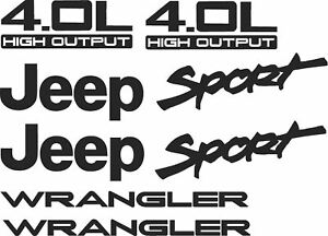 1997 2002 Jeep Wrangler Sport 4 0l Replacement Fender Decals Sticker Tj Output