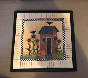 Country Rustic Brown Outhouse Crow Sunflower Pumpkin Bathroom Decor Wooden Sign
