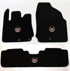 New Black Floor Mats 2007 2014 Cadillac Escalade 3 Pc Set Embroidered Logo All