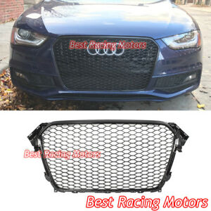 Rs4 Style Front Grille Gloss Black Frame Honeycomb Fit 13 16 Audi A4 S4 B8 5