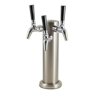 Triple Stainless Steel Draft Tower With Chrome Intertap Faucets Keg Beer Homebre