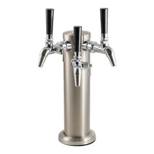 Tripple Stainless Steel Draft Tower With Intertap Flow Control Faucets Keg Beer