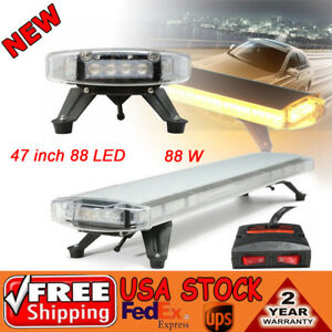 47 88 Led Amber Work Light Bar Emergency Flash Warning Light Response Strobe Us