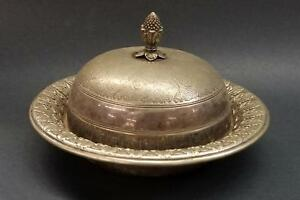 19th Century 7 Silverplate Butter Dish By James Dixon Sons Trumpet Mark Liner