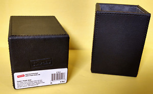 2 Staples 27044 Black Leather Lined Pencil Cups 4 x 3 Free Shipping