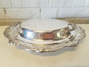 Vintage Antique Gorham Silverplate Covered Serving Dish With Handles