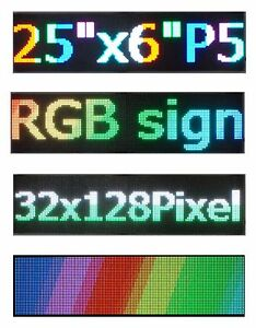 Led Sign P5 Hd Full Color 25 x 6 5 Rgb Programmable Scrolling Message Display