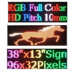 Led Sign Full Color 38 x 12 P10 Hd Rgb Programmable Scrolling Message Display