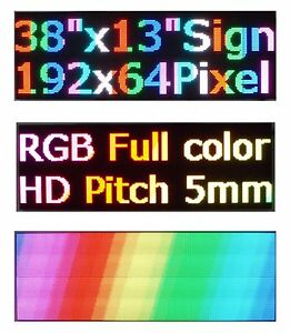Led Sign P5 Full Color Indoor 38 x 12 Programmable Scrolling Message Display