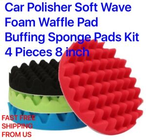 Car Polisher Soft Wave Foam Waffle Pad Buffing Sponge Pads Kit 4 Pieces 8 Inch