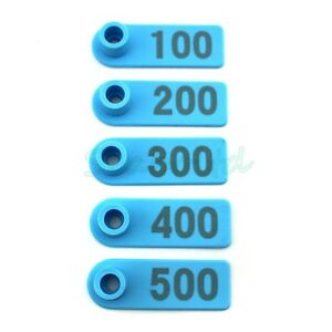 Ear Tag Plastic Livestock Tag For Goat Sheep Pig Cow Number 1 500 Blue