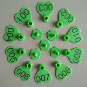 Green Cow Cattle Number Large Livestock Ear Tag Pack Of 100pcs