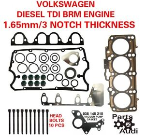3 Notch Oe Cylinder Head Gasket Set With Bolts For Vw Diesel 1 9 Brm Engine