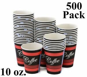 500 Pack 10 Oz Eco Friendly Poly Paper Disposable Hot Tea Coffee Cups no Lids
